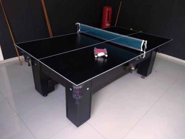 Mesa de Bilhar Cestinha Residencial com Tampão de Jantar e Listras de Ping Pong